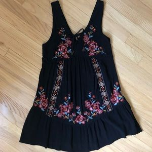 embroidered floral smock dress